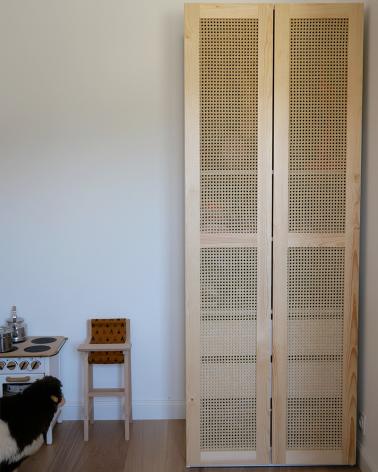 Magnifique porte en pin et cannage pour dressing PAX IKEA