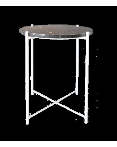 Table basse piétement acier blanc plateau en marbre Marquina d'exception
