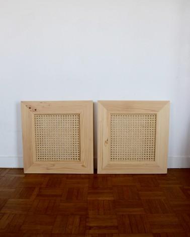 Paire de portes en pin et cannage fabriquées en France compatible modele IVAR IKEA