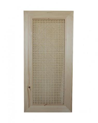 Porte en pin et cannage fabriquée en France compatible modele IVAR IKEA, hauteur 80 cm