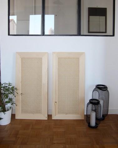 Paire de portes en pin et cannage fabriquées en France compatible modele IVAR IKEA hauteur 80 cm