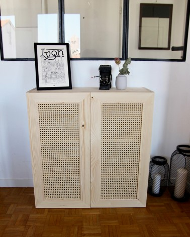 Ivar IKEA avec les belles portes en cannage made In France Boost My Design - hauteur 80 cm