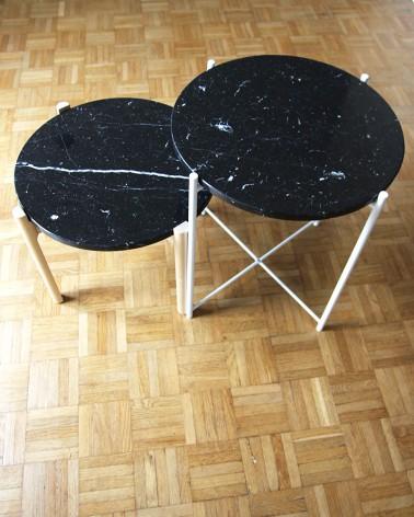Plateaux en marbre Marquina fabrication française pour tables basses IKEA