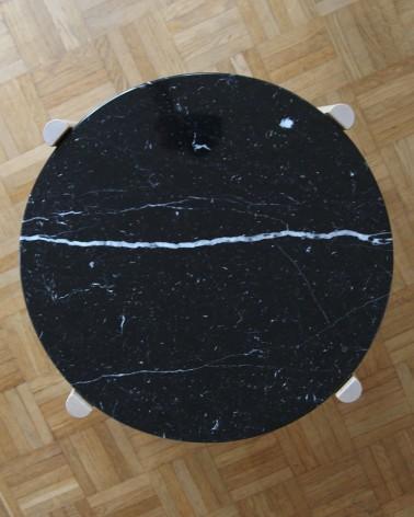 Plateau en marbre Marquina fabriqué en France par un artisan pour la table basse IKEA gladom