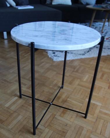 Table basse Gladom Ikea plateau en marbre Carrare Boost My Design fabrication française